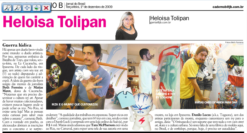 Matéria da coluna de Heloisa Tolipan no Jornal do Brasil - 1/12/2009
